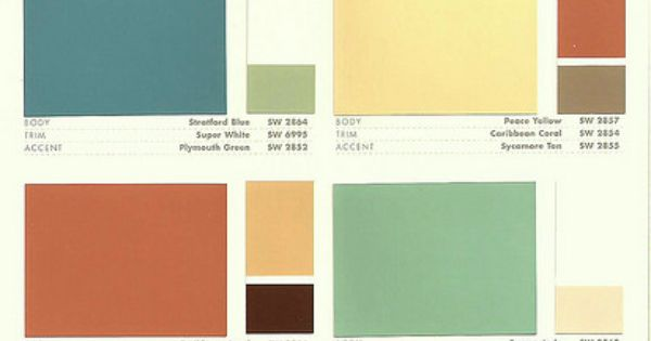 Sherwin Williams Color Preservation Palettes Retro 1950 S