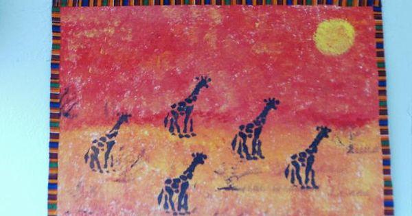 classe de petite section girafes au coucher du soleil technique au pochoir sur fond l 39 ponge. Black Bedroom Furniture Sets. Home Design Ideas