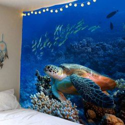 Turtle Ocean Fish Wall Hanging Tapestry Blue W59 Inch L51 Inch Washable Polyester Largest Sea Turtle Sea Turtle Big Sea