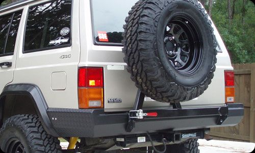 Detoursusa Xj Slim Line Series Bumper Clean Lines Well Thought Out Spare Sits Behind Driver For Jeep Cherokee Bumpers Jeep Cherokee Sport Jeep Cherokee Xj