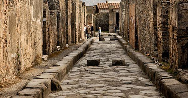 Roman road through the ruins of Pompeii, Italy