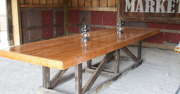 DIY Barn trestle table. Love the Farmer's Market sign in the background