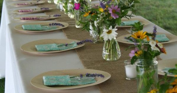 our table setting wildflowers bamboo plates homemade