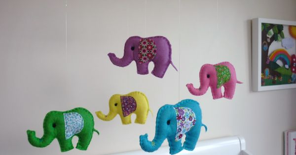 Baby elephants for baby - DIY mobile! Pink, gray and white for Stella's room?   Nursery Ideas ...
