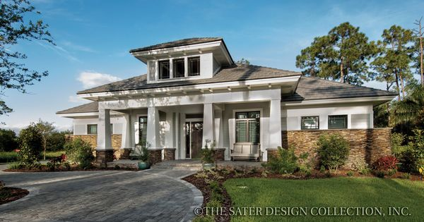 Front elevation the sater design collection 39 s luxury Prairie style house plans luxury