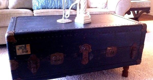 Steamer trunk coffee table repurposing old stuff trunk for How to turn a trunk into a coffee table