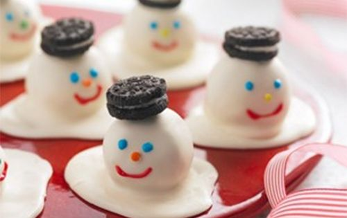 Photos of cake balls and recipes | Melting Snowmen Cookie Balls recipe