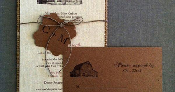 Burlap wedding invitation with RSVP postcard