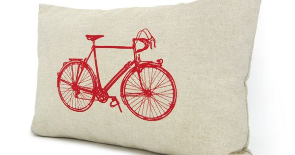 Bicycle Print Throw Pillow : Bicycle decorative pillow cover - Red vintage bike print on natural cotton canvas throw pillow ...