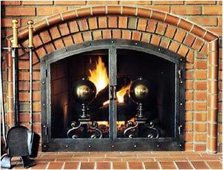 Brick Arched Fireplace With David Kimberly Fireplace Door Fireplace Fireplace Doors Brick Arch