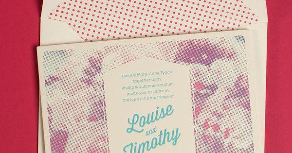 Retro wedding invite with polka dot envelope.