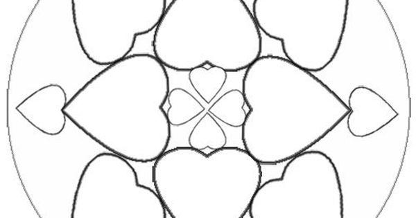 Desenho De Mandala Com Corações Para Colorir