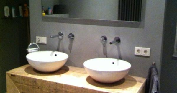 Badkamer meubel recht van steigerhout 131404076bd - Houten meubels voor badkamers ...