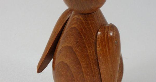 danish modern teak penguin figurine with moveable wings. Black Bedroom Furniture Sets. Home Design Ideas