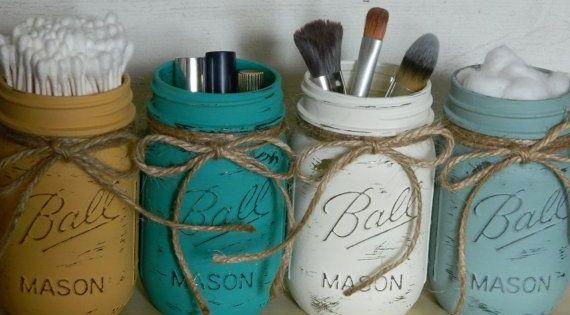 Make-Up Brush Holder / Hand Painted Pint Mason Jars / Pint Jars