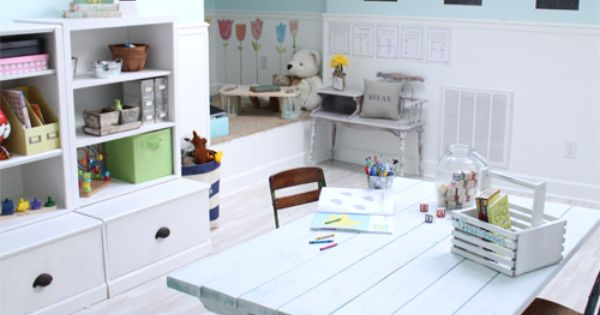 Love the table... home school room. BRILLIANT (and cheap) idea to use