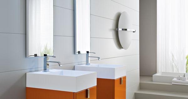 Mobilier de salle de bain laqu orange city de chez idea for Idea groupe salle de bain