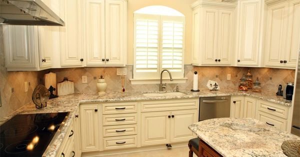 Cream Cabinets With Bronze Hardware Granite Stone