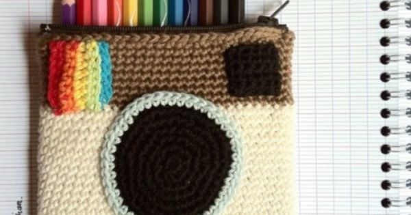 cute crocheted instagram colored pencil pouch!