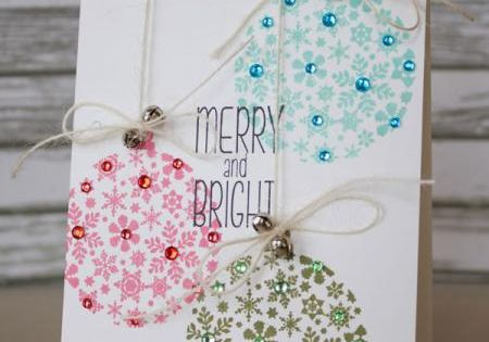 """Lovely """"Merry and Bright"""" Ornaments Card...with rhinestone trim. By housesbuiltofcards - Cards"""