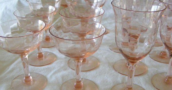 Vintage Pink Stemware 8 Goblets 7 Sherberts Etched Paneled