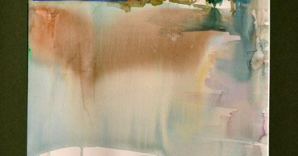 Paysage De Printemps Aquarelle Originale Zen Paysage Myst Rieuse Eau Lac Verdure Vert