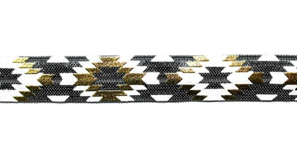 5 8 Black White Gold Fashion Aztec Shiny Printed By Peakbloom White Gold Fashion Black White Gold Navy And White