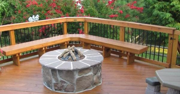 home made patio deck | diy wooden patio decks | Wood Deck Stained Fire Pit | Eliza | Deck ...