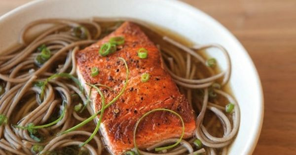 Soba Noodles and Seared Salmon in Ginger-Green Onion Broth ...