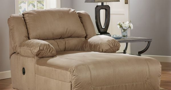 Indoor oversized chaise lounge hogan mocha reclining for Ashley hogan chaise