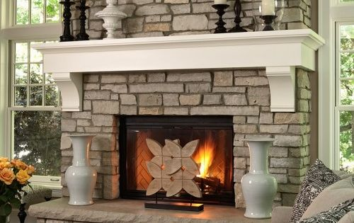 Dry Stacked Stone Fireplace White Mantle Design Ideas, Pictures, Remodel and Decor