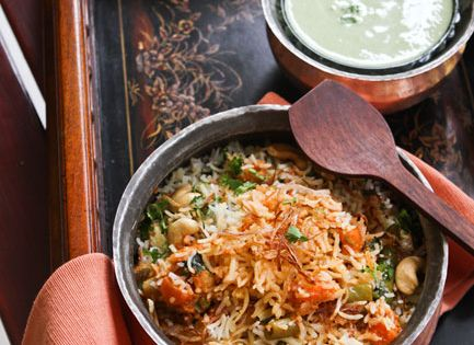 Vegetable Biryani - cauliflower, carrots peas, beans in a gravy of yogurt,
