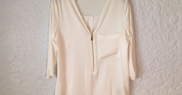 White Blouse With Gold Zipper 95