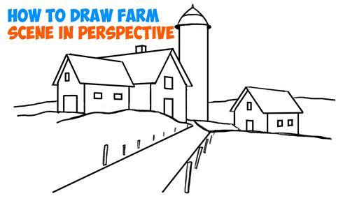 How To Draw Farm Scene Fall Spring Scene In Three Point Perspective In Easy Step By Step Tutorial For Beginners How To Draw Step By Step Drawing Tutorials