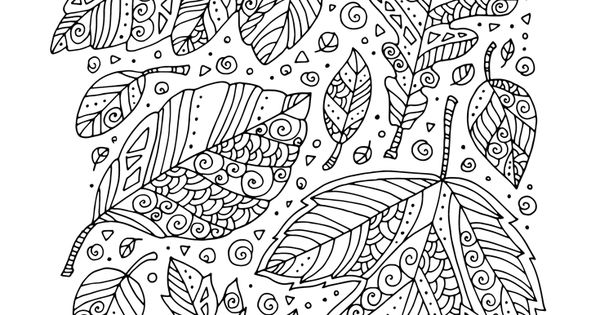 Fall Coloring Page Zentangle Leaves