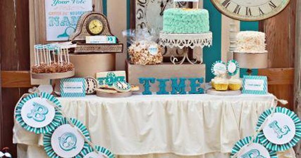 Timeless baby celebration. baby shower dessert table - gender reveal party for
