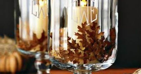 Pine cones and candles thanksgiving centerpiece idea
