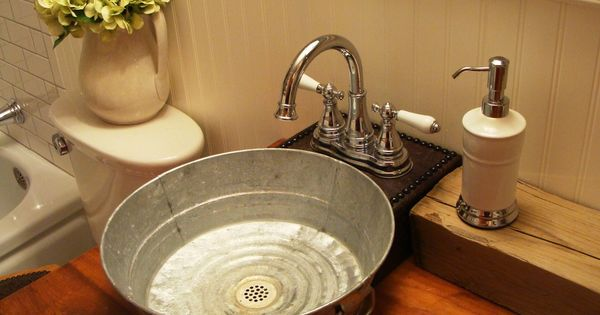 galvanized tub sink bathroom craftsman with bathroom bucket sink tiny house ideas. Black Bedroom Furniture Sets. Home Design Ideas
