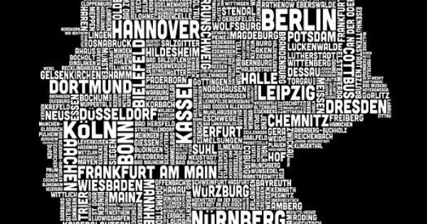 text map of germany map texts advertising and canvas art. Black Bedroom Furniture Sets. Home Design Ideas