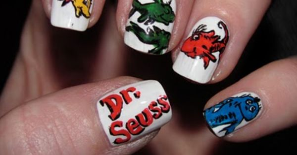 Dr. Seuss One Fish, Two Fish, Red Fish, Blue Fish nail art