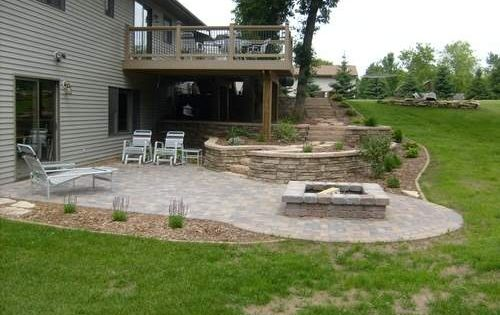 Under deck landscaping fire pit area landscaping Walkout basement landscaping pictures