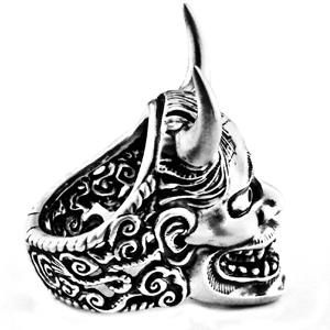 Handcrafted Give Ideas for Him Japanese Oni Men/'s Fashion HANNYA SKULL Silver Ring
