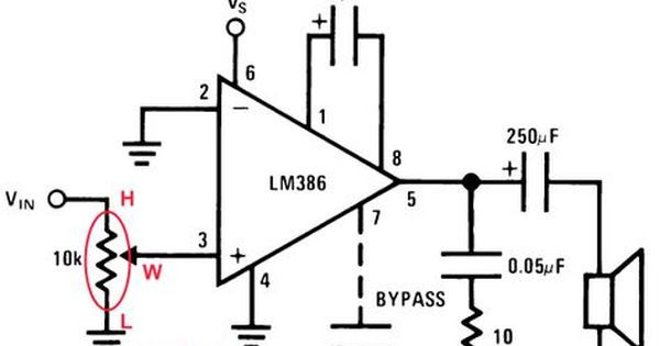 lm386 op amp schematic audio potentiometer
