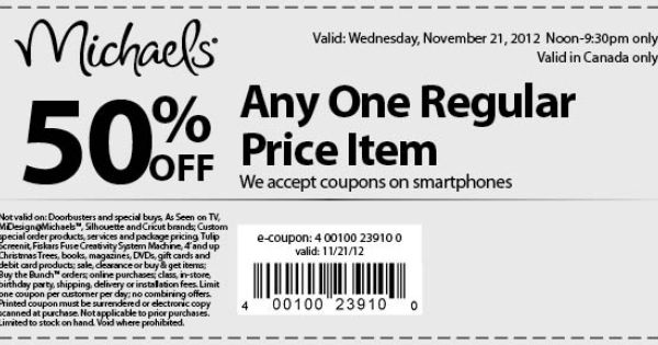 50 Off Any One Regular Price Item Seriously Good Michaels Coupons For Canadian Stores Michaels Coupon Printable Coupons Coupons