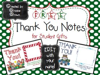 Free Christmas Thank You Notes For Student Gifts Edit With Your Name Student Christmas Gifts Students Christmas Christmas Thank You