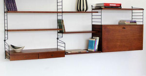 original nisse strinning teakwood wall unit 60s teak string regal system 60er teak. Black Bedroom Furniture Sets. Home Design Ideas