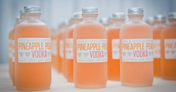Adorable, drinkable infused vodka wedding favors for the fun-loving couple & guests