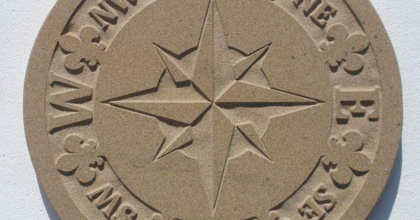 Garden Compass Design Engraved In Yorkstone For Patio Or