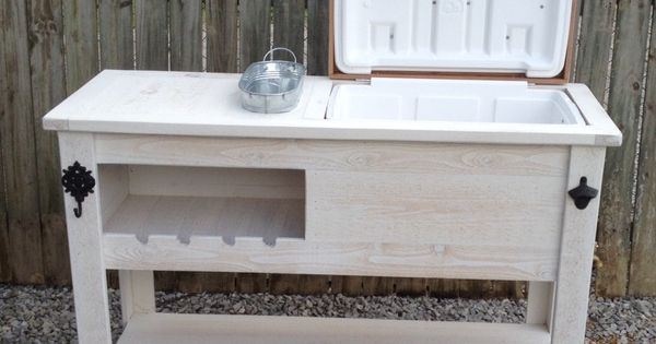 Outdoor Rustic Wooden Cooler Bar, Serving Or Console Table