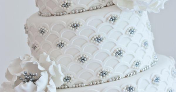 Beautiful Scalloped Silver Pearls Wedding Cake